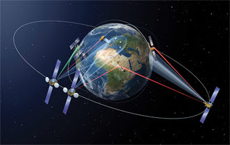 An illustration of laser data transmission between satellites in low-Earth and geostationary orbits.