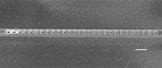 A diamond photonic cavity with nanoscale holes containing NV centers.