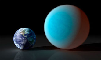 An artist's rendering of Earth and 55 Cancri e.