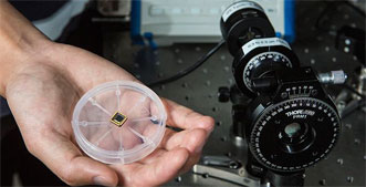 A circularly polarized light detector on a chip, on the left, performs the same function as the conventional, optically based detector on the right.