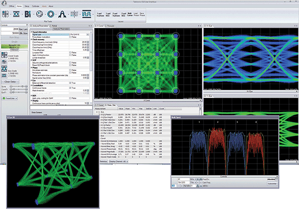 The user interface of software like this, Tektronix's OM1106 Coherent Optical Analysis system, allows the user to conduct a detailed analysis of complex modulated optical signals without requiring knowledge of MATLAB, analysis algorithms or software programming.