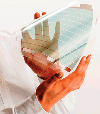 Organic solar film is more flexible than conventional crystalline silicon solar technology and can be transparent.