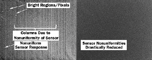 Raw image from a SWIR imaging sensor, left, alongside the output from the same sensor after the defects have been corrected, right.