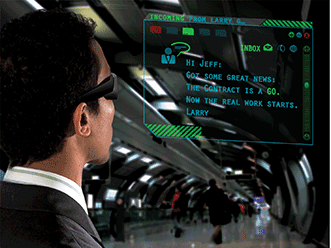 The laser scanning projection system enables augmented-reality wearable glasses.