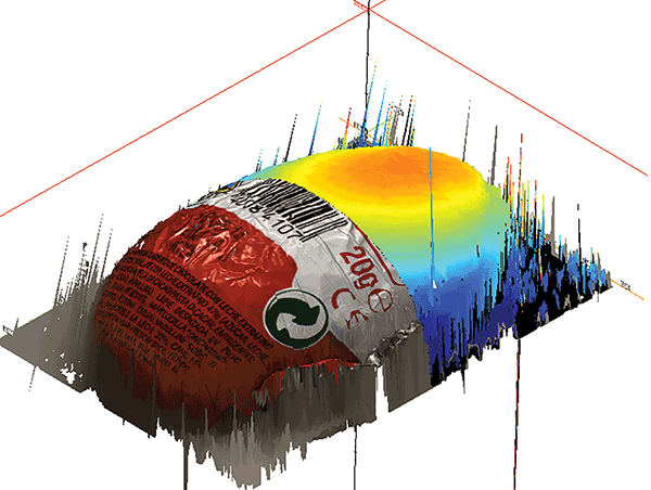 A foil-wrapped egg, shown with a color rendering and height map.