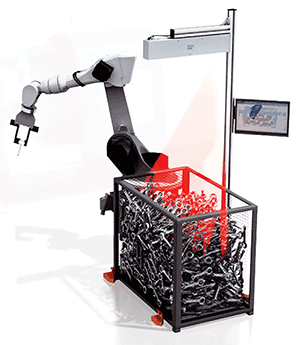 A graphic of Sick's PLB robotic bin picking system. \