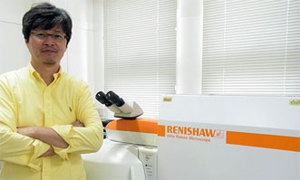 Professor Noboru Ohtani of Kwansei Gakuin University with an inVia Raman microscope