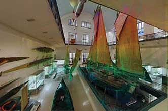 A high-resolution point-cloud view of the maritime exhibition at the Deutsches Museum in Munich.