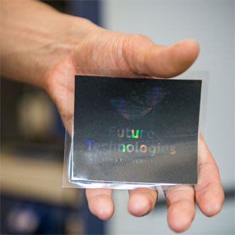 An inkjet-printed rainbow hologram.