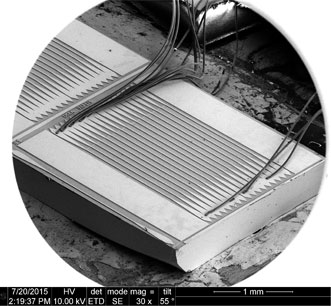 A metasurface used to amplify a vertical-external-cavity surface-emitting laser that works in the terahertz range.
