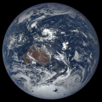 An image captured by NASA's Earth Polychromatic Imaging Camera (EPIC) showing Australia and part of Asia.