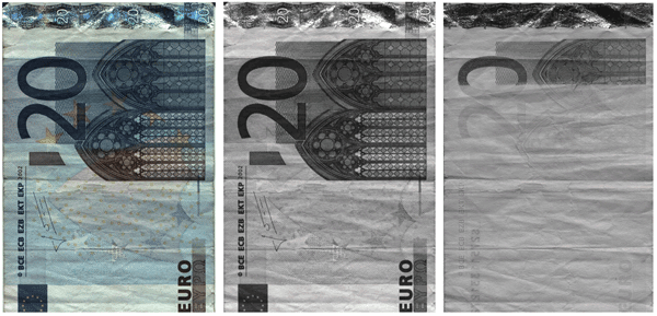 A euro banknote image captured by the Piranha4 multispectral camera.