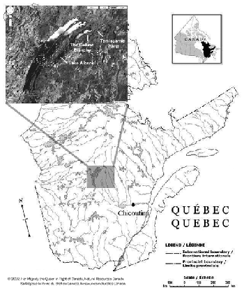 Map of the source location of Mistassini quartzite in the Colline Blanche formation in central Quebec, Canada.