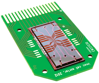This prototype of the cell-sorting chip incorporates the lens-free system.