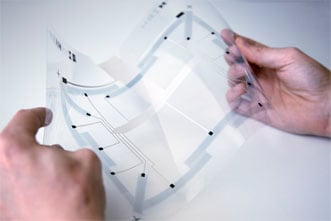 Sensitive flexible film for touch displays