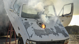 Laser weapon system disables truck engine