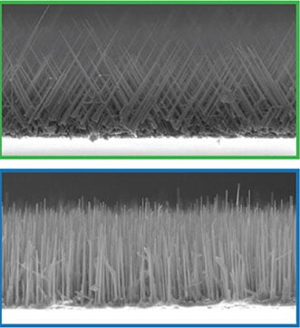 Nanowires grown using catalysts rich in gold (top) and nickel (bottom)