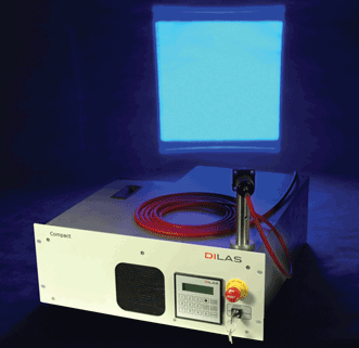 The new visible blue diode laser system at 450 nm from Dilas delivers output power of up to 25 W from a 200-µm fiber.