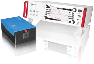 The CTL frequency-converted continually tunable diode laser from Toptica (left) scans over a 100-nm range, mode-hop free. Driver electronics like the DLC pro digital laser controller (right) are a critical part of a diode system that should not be overlooked.