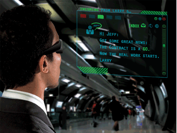 The laser scanning projection system enables augmented reality wearable glasses.