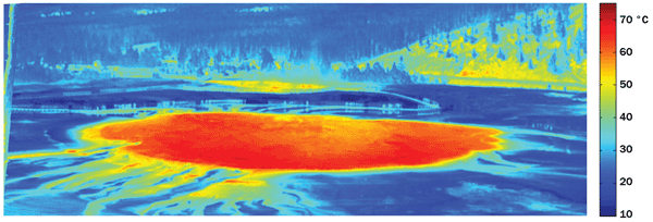 Thermal image of the Grand Prismatic Spring at Yellowstone National Park