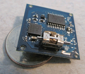 The piezoelectric Squiggle motor in an M3 smart module is mounted on the integral controller board.