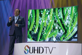 Ultra HD technology at Samsung's press conference during the 2015 International CES Press Day event.