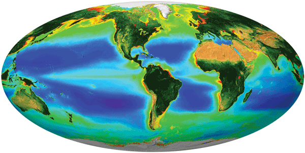 The PACE mission will produce images such as this one – generated from data obtained by the NASA SeaWiFS mission – allowing for advanced study of Earth's aquatic ecology and chemistry.