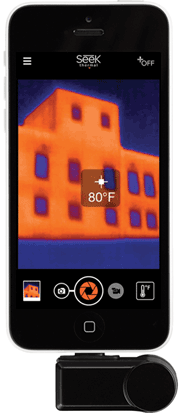 A thermal image of a building façade viewed on a smartphone fitted with an IR camera. Photo courtesy of Seek Thermal.