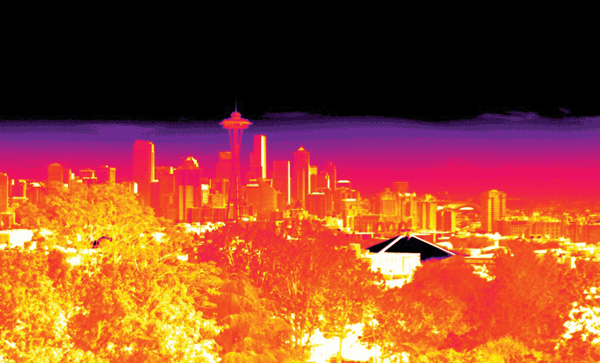 An IR image of the Seattle skyline shows an excellent level of detail at varying distances
