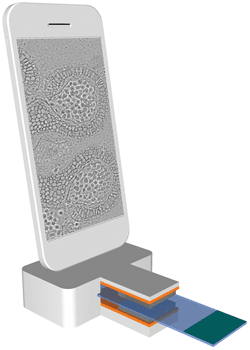 A miniaturized, fully integrated microscope-on-a-chip used as a mobile phone extension.