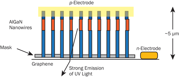 Schematic of semiconductor nanowires grown on a graphene substrate, which could result in deep-UV (265 nm) LEDs that are useful for sterilization.