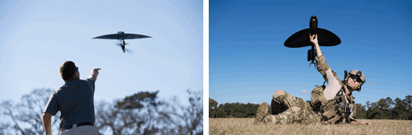 The Maveric from Prioria Robotics is a backpack-able, hand-launchable UAV platform measuring just over 2 ft. in wingspan that can carry a wide variety of imaging and sensing payloads for civilian (<b>left</b>) and military (<b>right</b>) applications.