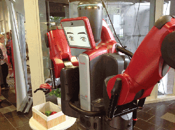 Figure 5. Queensland University of Technology unveiled a version of a Baxter robot that is programmed to identify and pick ripe bell peppers, as well as to play an unbeatable game of Connect Four. Photo courtesy of ACRV.