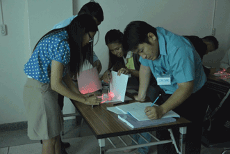 Teachers in Chiang Mai, Thailand, study the refraction of light in water.