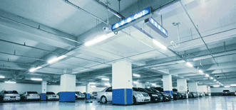 This high-bay application, an apartment building parking lot, features Samsung's high-power linear LED module package.