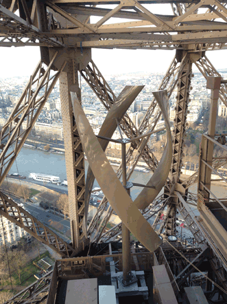 Part of a clean-source energy system designed by UGE International, two vertical-axis wind turbines have been installed on the Eiffel Tower, in addition to LED lighting and roof-mounted solar panels.