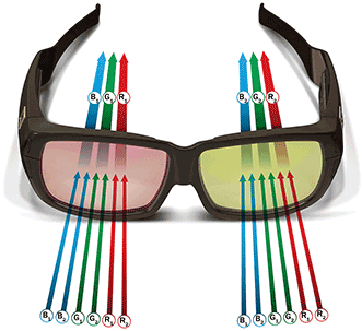 Six primary color 3D glasses.