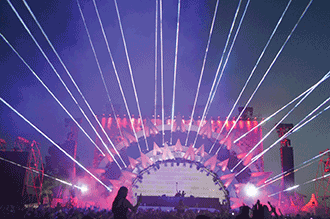 Thirty 3-W Beam Burst lasers are pictured here in beam mode during a performance at the Future Music Festival in Australia.