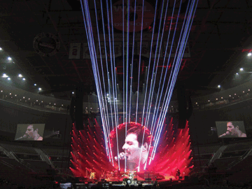 Featured during the Queen + Adam Lambert world tour are twenty-four 3-W Beam Burst lasers, pictured here in beam mode.
