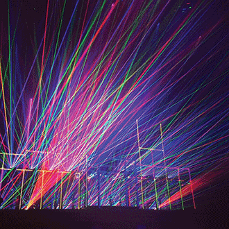 3-W Beam Burst RGB lasers from ER Productions are shown in grating mode during a concert in London.