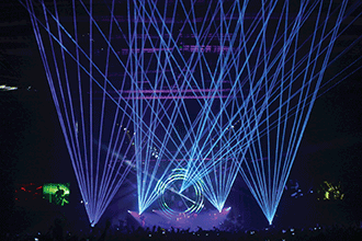 Five 21-W scanning lasers, projecting into the air during a show in London.