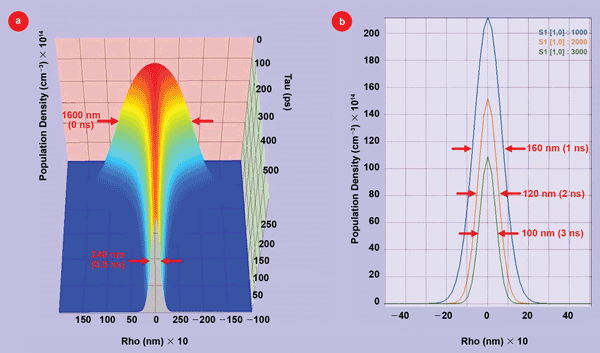 (a) 3-D plot of the population evolution of GFP molecules that are in the emitting S(1) state as a function of radius (Rho) and time after the excitation pulse. (b) 2-D plots of the emitting S(1) state cross sections versus radius (Rho) at 1, 2 and 3 ns, respectively, after the excitation pulse.