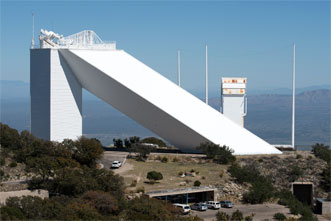 The McMath-Pierce Solar Telescope is the largest solar telescope in the world, standing nearly 100 feet tall and featuring a shaft that slants two hundred feet to the ground.