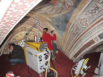Restoration of the Cappella Maggiore chapel at the Basilica of Santa Croce in Florence, Italy.