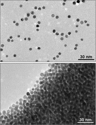 Nanoparticles in a light-sensitive medium scatter in the light (top) and aggregate in the dark (bottom).