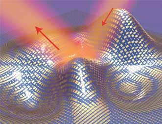 An illustration of a metasurface skin cloak made from an ultrathin layer of nanoantennas (gold blocks) covering an arbitrarily shaped object.