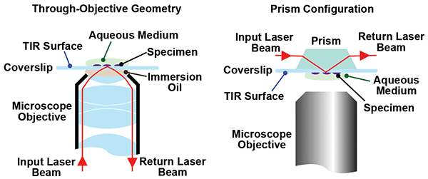 In TIRF microscopy, excitation light beyond the critical light is completely reflected.