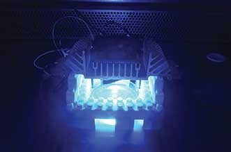 The experimental setup used for testing the antibacterial effect of blue LEDs.