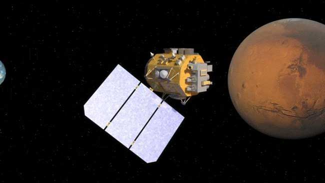 Artist concept of satellite relaying data from Mars to Earth via laser.